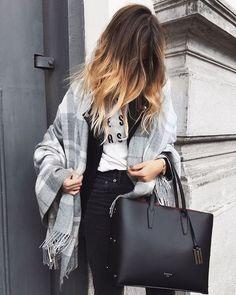 Bag: tumblr black tote scarf blanket scarf tartan scarf tartan jeans black jeans ombre hair long