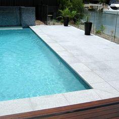 Light Grey Granite Pool Tiles and Pavers. Outdoor Pavers and Coping Light Grey Granite Pool Tiles an Backyard Pool Designs, Small Backyard Pools, Swimming Pools Backyard, Pool Decks, Pool Landscaping, Small Pools, Backyard Ideas, Outdoor Pavers, Pool Pavers
