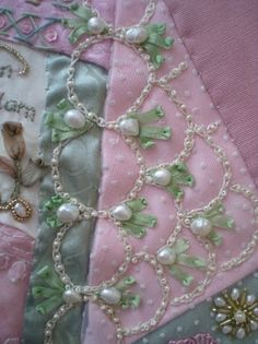 Embroidery with pearls on quilting -- pretty!
