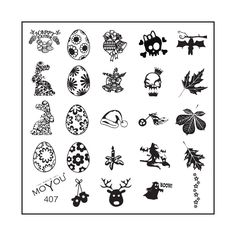 The multi-festive plate is here! With fabulous designs for a Christmas, Easter or Halloween specialty, MoYou Nails stamping image plate 407 has the perfect designs.