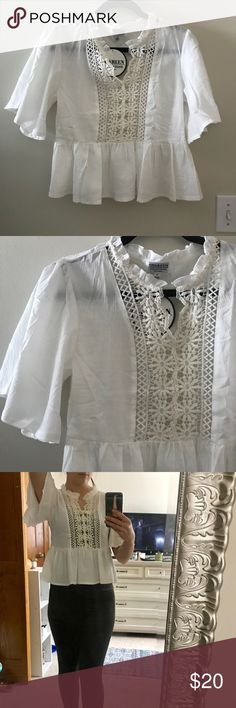 White Boho Top Cute top with crochet detail. Bought from the Australian Online boutique Mura Boutique. Tag says size 8 in Australian, so that's a size small. Mura Boutique Tops Blouses