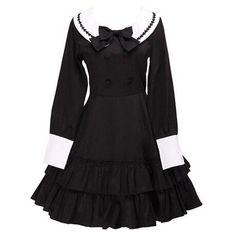 Partiss Women's Sailor Stylish Bow Ruffle Victorian School Lolita... (300 BRL) ❤ liked on Polyvore featuring dresses, frilly dresses, bow dress, victorian dress, flutter-sleeve dress and victorian day dress