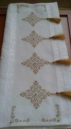 Towel with Cross-Stitch