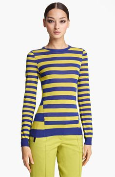 I think this would be surprisingly flattering - also in black and white! Jason Wu Stripe Crewneck Silk Top   Nordstrom