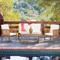The Carolina four-piece outdoor acacia sofa set offers all the benefits and style of an indoor sofa set with the durability to be kept outdoors.
