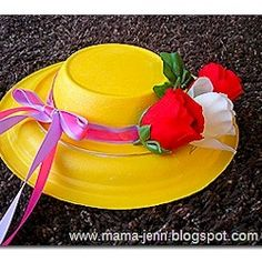 Homemade Easter Hat Craft with paper plate and bowl.  Cute for the classroom, we made these for our Mother's Day tea too!