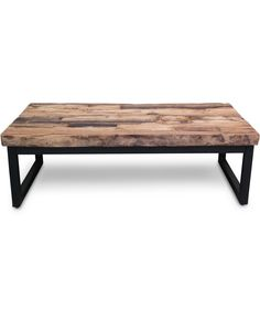 Rectangular coffee table - manufactured from railway sleepers with black steel frame. Adjustable glides for uneven floors. There is an aged, rough, tough kind of look to this latest range of railway furniture that speaks of tradition & heavy duty character. Please note surface is uneven.
