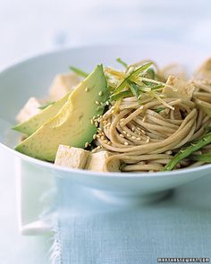 Healthy Tofu Recipes Soba Noodles with Tofu, Avocado, and Snow Peas  This cold salad with soft soba noodles and creamy tofu and avocado gets crunch from sesame seeds.  Get the Soba, Tofu, Avocado, and Peas Recipe
