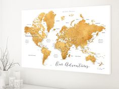 Elite framed push pin board featuring your custom quote world map dark gold world map with cities 36x24 canvas print or push pin map our adventures gumiabroncs Images