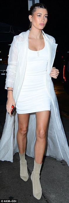 Who made Hailey Baldwin's tan ankle boots, sheer trench coat, and white mini dress? Dress Outfits, Fashion Outfits, Dresses, Teen Fashion, Fall Fashion, Fashion News, Tan Ankle Boots, Hailey Baldwin, White Mini Dress