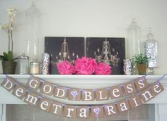 Sorry I'm a sucker for these rustic signs!!! God Bless Religious banner, Baptism sign, banner, Communion, Baptism banner, first communion, decorations