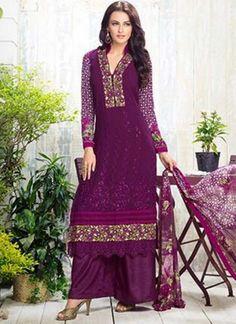 Purple Embroidery Work Georgette Designer Print Palazzo Pakistani Suit #Anarkali #Churidar #Pakistani #Suit #Salwar #Bollywood http://www.angelnx.com/Salwar-Kameez