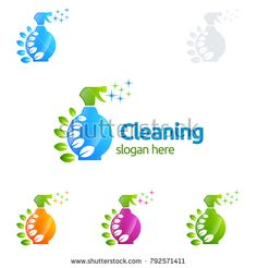 House Cleaning Vector Logo Design, Eco Friendly with shiny glass brush and spray Concept isolated on white Background Cleaning Service Logo, Vector Logo Design, Clean House, Royalty Free Stock Photos, Concept, Illustration, Eco Friendly, Glass, Cleaning Supplies