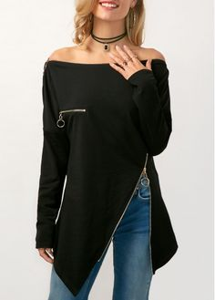 Asymmetric Hem Zipper Embellished Off the Shoulder Blouse on sale only US$30.49 now, buy cheap Asymmetric Hem Zipper Embellished Off the Shoulder Blouse at Rosewe.com