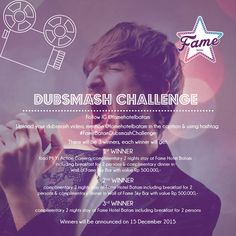 "Fame Hotel Batam present Dubsmash Challenge in conjunction of ""Road to Soft Opening"" Upload your dubsmash video > mention Fame Hotel Batam in the caption > using hashtag #FameBatamDubsmashChallenge and get many prizes for 3 winners. For more info please like fan page of Fame Hotel Batam yaa :)"