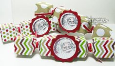 Easy to make Christmas Crackers made with Santa's List stamp Set and the Season Of Style Paper Stack. www.mystamplady.com