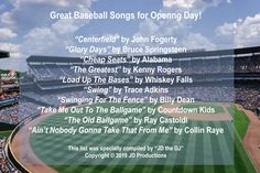 ⚾️ Baseball season has begun! Here are great songs to listen to as you root for your home team while munching peanuts and Cracker Jacks! Cracker Jacks, Take Me Out, Baseball Season, Home Team, All Games, Bruce Springsteen, Greatest Songs, Peanuts, Alabama