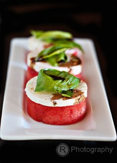 modern take and styling on watermelon, feta and basil salad
