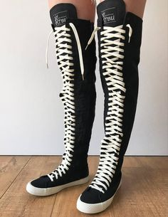 e927e02cc90648 RTBU Oreo 35 Hole Punk Goth Thigh Hi Canvas Laceup Zip Skateboard Sneaker  Boot