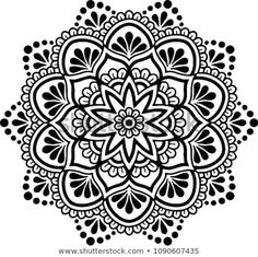 Find Mandala pattern black and white good mood Stock Vectors and millions of other royalty-free stock photos, illustrations, and vectors in the Shutterstock collection. Thousands of new, high-quality images added every day. Flower Art Drawing, Mandala Drawing, Mandala Painting, Stencil Painting, Mandala Tattoo, Mandala Dots, Mandala Pattern, Mandala Design, Pattern Images