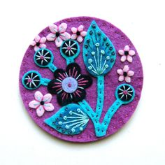 Etsy Transaction - Blossom felt brooch with freeform embroidery