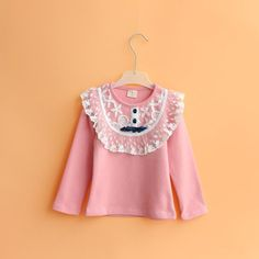 14 children's clothing qiu han edition installs a new girls cotton long sleeve T-shirt render unlined upper garment of children's lace in the spring and autumn coat on EdithJewelry.com
