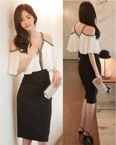 Resultado de imagen para vestidos coreanos Lovely Dresses, Formal Dresses, All About Fashion, Backless, Clothes, Style, Korean Dress, Vestidos, Women
