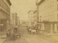 Stereoview image of the post office and Pearl Street - c. 1880