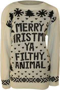 Women's Merry Christmas Ya Filthy Animal Knitted Sweater | Jewelry And Bling