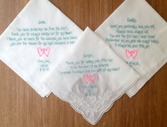Personalized 3 Wedding Handkerchiefs for Parents of The Bride
