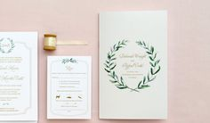olive branch watercolor wedding program
