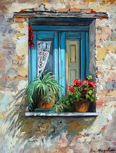 Window Box by Hercio Dias Drawing Pics Pinterest Arte, Garden Windows, Painting Inspiration, Painting & Drawing, Drawing Pics, Painting Doors, Painting Abstract, Watercolor Paintings, Watercolors