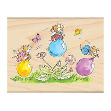 New Penny Black PLAY DATE Rubber Stamps Mice Balloons Spring Friends Playing