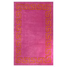 Tufted rug with a Greek key border.   Product: RugConstruction Material: PolyesterColor: PinkFeatures: Machine tuftedNote: Please be aware that actual colors may vary from those shown on your screen. Accent rugs may also not show the entire pattern that the corresponding area rugs have.Cleaning and Care: These rugs can be spot treated with a mild detergent and water. Professional cleaning is recommended if necessary.