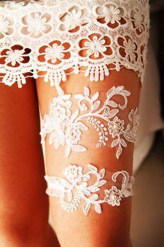 Wedding Garter Bridal Garter Set Lace Garter Rustic by NAFEstudio