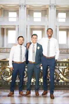 San Francisco City Hall - Intimate Wedding - Groomsmen - navy and Grey - groom navy blue - elopement - romantic - cognac and navy blue