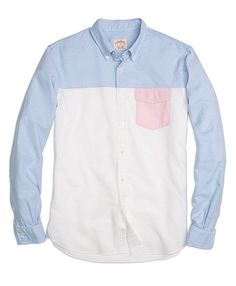 Oxford Fun Shirt with Pink Pocket by Brooks Brothers (Item #MG01279)