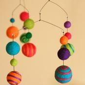 Colour and more colour! Felted wool mobile by Sqrl & Bee