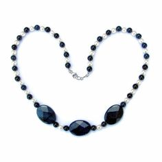 Dumortierite and Pearl Necklace dark blue and white by onerarelily, $38.00