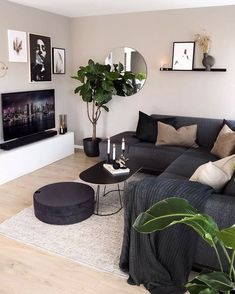 Living Room Decor Cozy, Home Living Room, Apartment Living, Living Room Designs, Bedroom Decor, Dark Sofa Living Room, Living Room Ideas Dark Furniture, Modern Small Living Room, Room Interior
