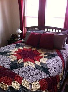 Prairie Star Afghan By Marilyn Coleman and Mary Jane Protus - Free Crochet Pattern - (ravelry) Lone Star Quilt Pattern, Crochet Quilt Pattern, Crochet Bedspread, Crochet Squares, Crochet Blankets, Crochet Home, Knit Or Crochet, Crochet Crafts, Crochet Projects