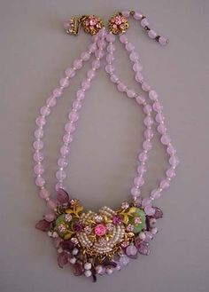 "HASKELL two-strand 14-16"" lavender glass bead necklace with 2-3/4"" front of rhinestones, seed beads and glass petals. Designer Frank Hess, circa 1950"