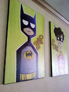 """The Caped Crusader and The Boy Wonder (or, """"Holy Acrylic Painting, BATMAN!"""") - MORE ART, LESS CRAFT"""