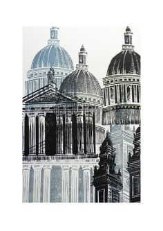 'St Paul's' By Mangle Prints Medium: Linocut Print This has given me the idea of incorporating etching into my work as well as printing