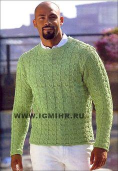 Мужской зеленый пуловер с рельефными узорами. Спицы