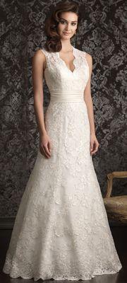 2013 Allure Bridal - Ivory Lace Applique Keyhole Wedding Dress