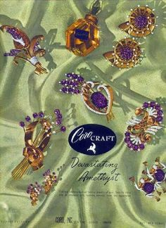 1940s jewelry styles: 1944, amethyst costume jewelry by Corocraft. See more at VintageDancer.com/1940s