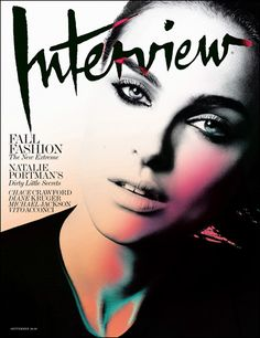 Interview magazine, Nice cover design in terms of colour and idea, but I think its a failure that you can't recognize Natalie Portman on the cover, in that sense something went wrong or was over worked. Fashion Magazine Cover, Fashion Cover, Magazine Cover Design, Fashion Sets, Fashion Shoot, Fall Fashion, High Fashion, Natalie Portman, Editorial Layout