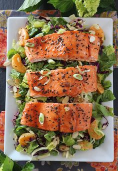 So Good!!!! PaleOMG Spicy Candied Salmon Salad with Ginger Honey Dressing