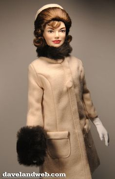 """A Franklin Mint recreation of the Oleg Cassini-designed sable-trimmed Inaugural outfit for Jackie Kennedy. """"What I wanted for Mrs. Kennedy was a uniquely simple, not ostentatious, fashion statement. Jackie Kennedy, Jaqueline Kennedy, Beautiful Barbie Dolls, Casual Outfits, Fashion Outfits, Franklin Mint, Barbie Friends, Vintage Barbie, Barbie Clothes"""